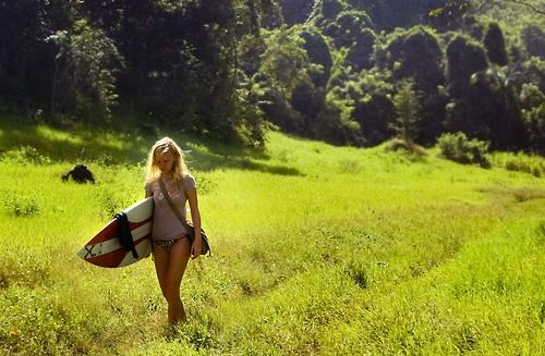 Hiking to a good surf spot
