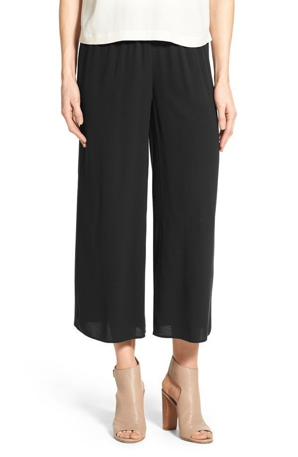 NWT Eileen Fisher Black Silk Georgette Crepe Wide Leg Crop Pants Small  #EileenFisher #DressPants
