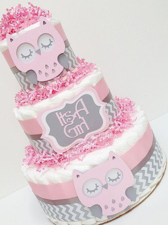 Buho de color rosa y gris de Chevron de pañales torta bebé