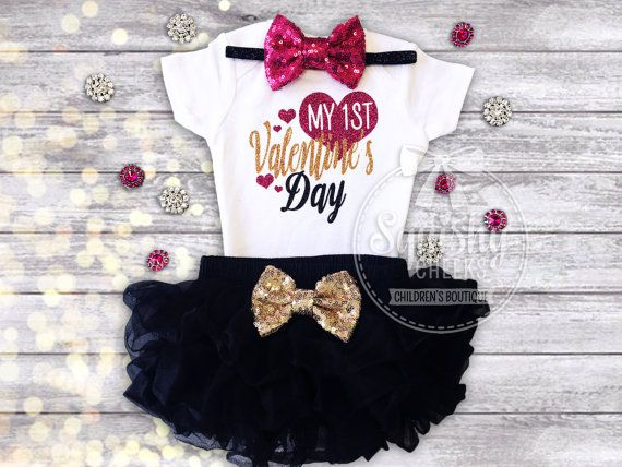 1st Valentines Day Outfit Baby's 1st by BabySquishyCheeks on Etsy