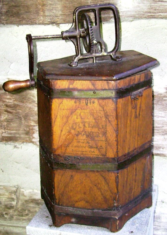 """17in tall x 10in wide OLD PRIMITIVE """"HOME BUTTER MAKER"""" SIX-SIDED WOODEN CHURN - ESTATE"""