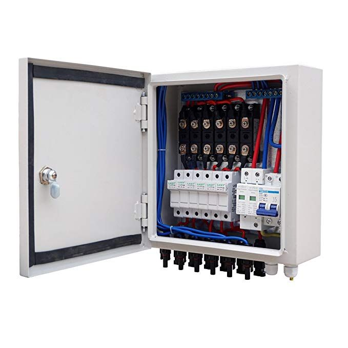 6 String Solar Panel PV Combiner Box 10A Circuit Breaker for Off Grid System
