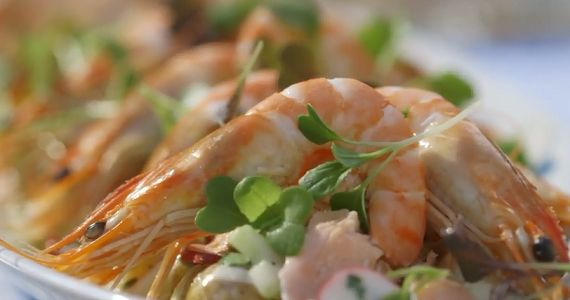 Mary Berry potato salad with salmon and tiger prawns recipe on Mary Berry's Absolute Favourites