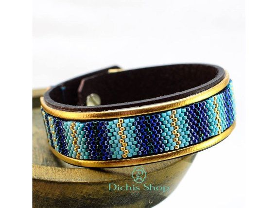 Leather bracelet blue cuff with beads / boho style by DichisShop