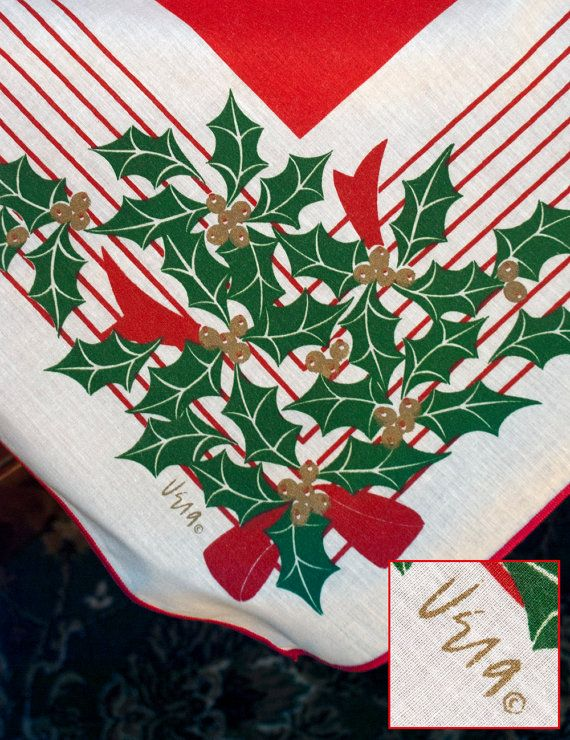 8 best Vintage Christmas Linens images on Pinterest | Cleanser ...