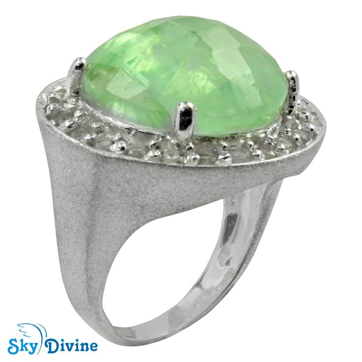 This pretty green fluorite stone held in the center of a very fine handmade sterling silver is a nice accessory for days when you want to relax. Be refreshed with this minty accessory! Click on the pic to buy :Sky Divine | 925 Sterling Silver flourite Ring SDR2139  Ring Size 7 US, $179.80