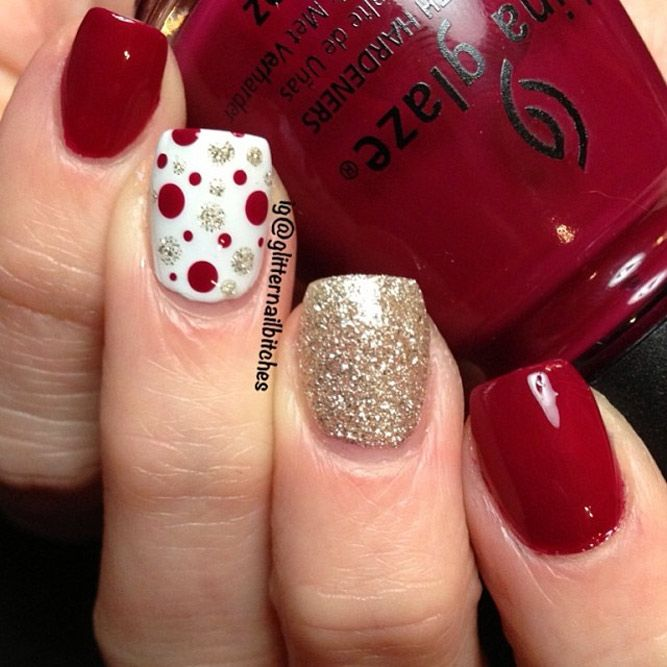 Christmas Nail Art in Gold, White and Red Colors - Best 25+ Red And Gold Nails Ideas On Pinterest Gold Tip Nails