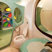 Bathroom in a house in Bandra by White Room Studio in Bandra, Mumbai   www.interiordesign.net   #InteriorDesignMagazine #InteriorDesign #design #bedroom #color #room #bathroom #tile #green #home #homedecor