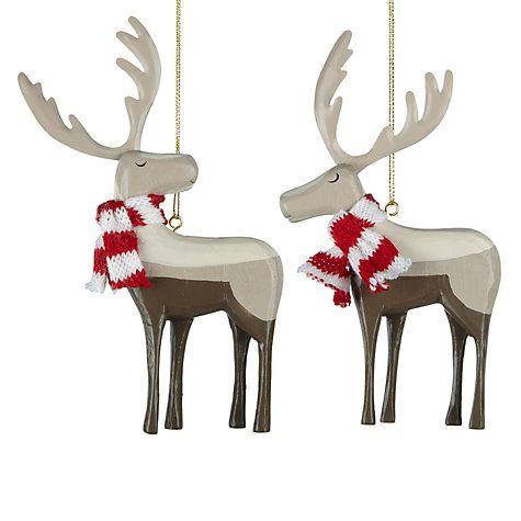 Buy John Lewis Wooden Reindeer Tree Decoration, Assorted Online at johnlewis.com