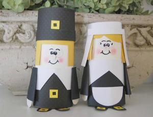 8 Pilgrim Crafts for Thanksgiving: Paper Tube Pilgrims