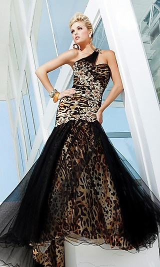 One Shoulder Animal Print Formal Dress by Tony Bowls TB-TBE11208  www.dresseswd.com  Style: TB-TBE11208  Name: One Shoulder Animal Print Formal DressDetails: Animal Print, Sequin Embellished, Mermaid   Fabric: Tulle over Charmeuse   Length: Long   Neckline: One Shoulder   Waistline: Natural