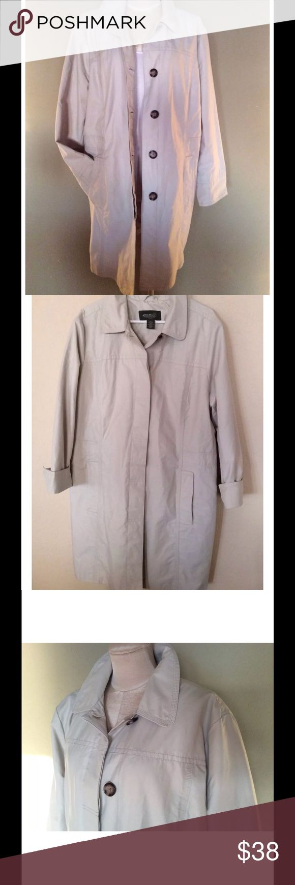 Eddie Bauer Beige Trench Car Coat Long Jacket Eddie Bauer Woman Trench Style Car Coat in Cotton Nylon Blend Water Repellant Fabric. Fully lined. Buff Beige Color. Easy care, machine wash   Preowned in very good condition.  Classic, cute jacket💕  Wonderful details: finished seams, concealed buttons, cuffable bracelet sleeves, interior pocket, back vent, two lined side seam pockets. Hard to find simple trench style jacket with understated detailed trimming.  Measurements approximate, Bust…