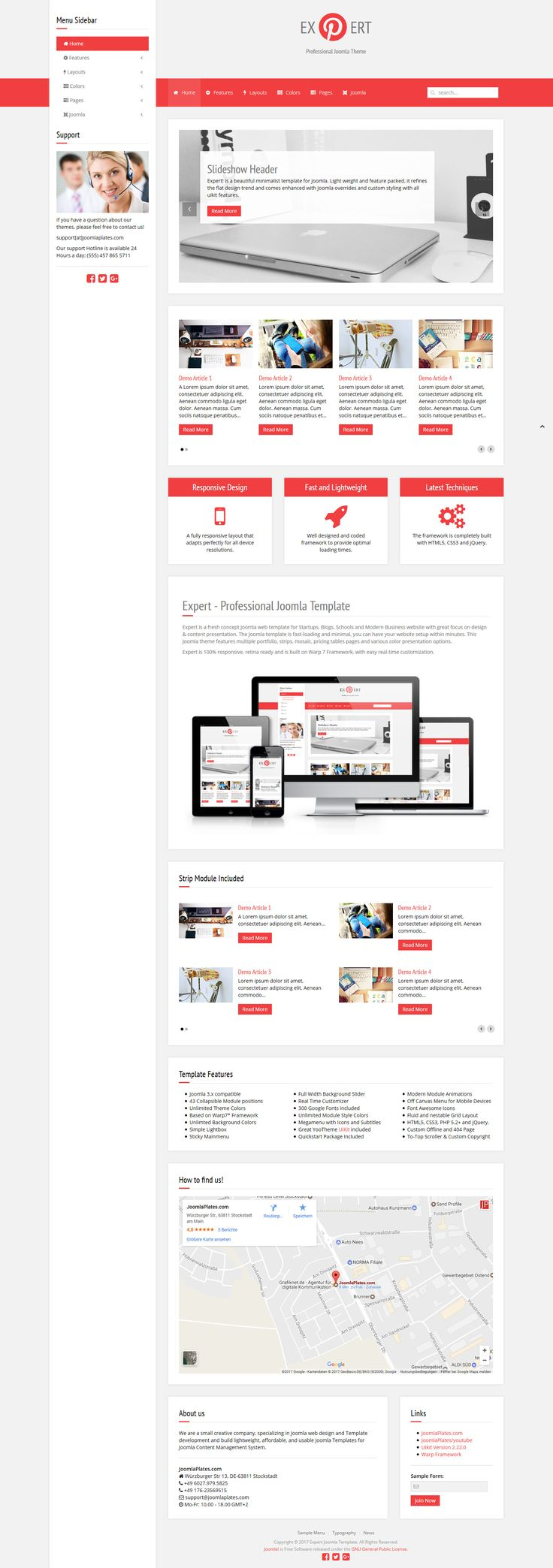 Expert is a fresh concept Joomla web template for Startups, Blogs, Schools and Modern Business