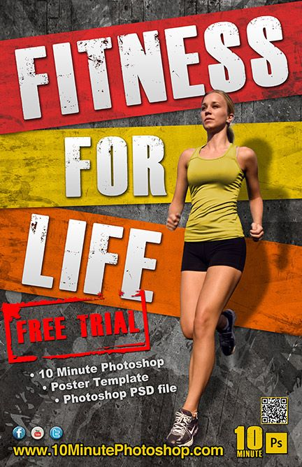 Fitness Poster Template PSD file Workout posters, Poster