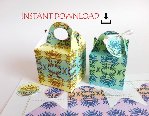 printable DOWNLOAD Floral gift party favor gable box by RubiaCraft