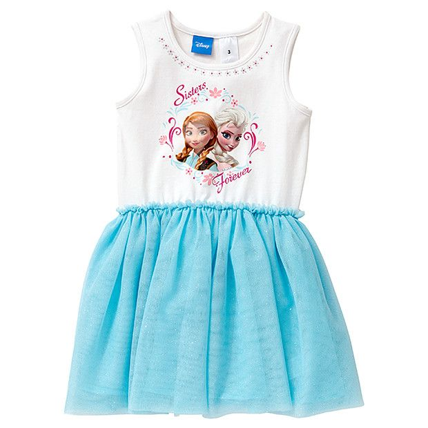 Can't get enough of her favourie movie, Frozen? Sisterly love reaches new heights in this gorgeous dress, featuring sisters Elsa and Anna in a beautiful design over the soft ribbed bodice with glitter detail. The skirt is fully lined over a layer of eye-catching glittery tulle she will love!