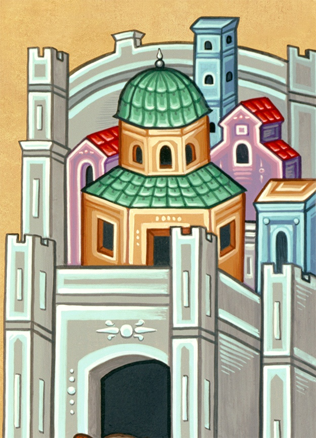 Stylized buildings from a Byzantine icon