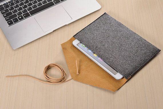 Grey Felt Leather iPad Sleeve iPad Mini Case iPad by AutumnStore Galaxy Tab case