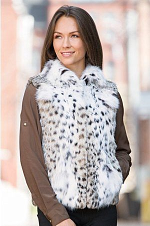 Beautifully crafted and American made, the Maeve surrounds you in natural lynx fur, for a winter vest that looks stunning.