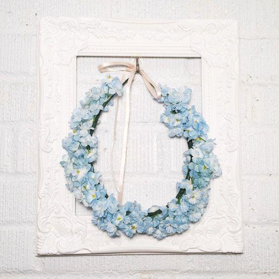 Light Blue Babys Breath Flower Crown / Babys Breath Wedding Crown / Bridesmaid Flower Crown / Modern Bride / Bohemian Bride