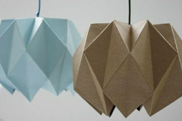 lampenschirm papier falten braun blau diy ideen