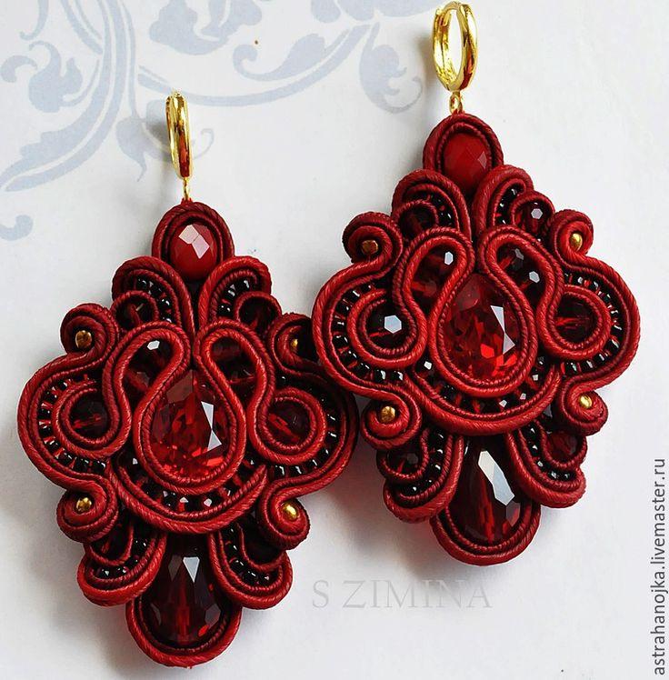 Купить Серьги Версаль забронированы - бордовый, серьги, красные серьги, длинные серьги, сутажные украшения