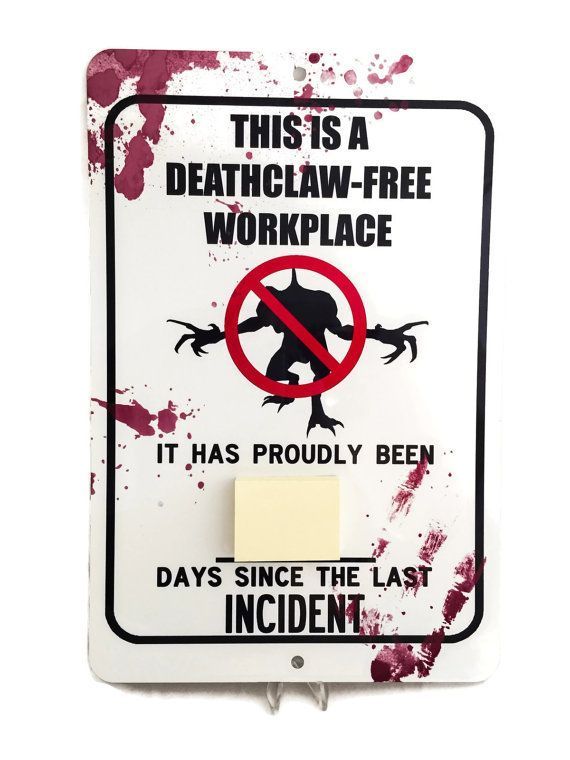 """Fallout Deathclaw Aluminum 8"""" x 12"""" Decorative Sign with Sticky Notes"""
