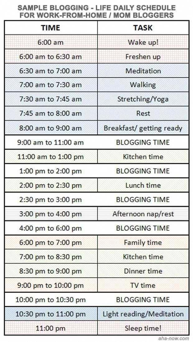 Blog Life Daily Schedule For Mom And Work At Home Bloggers You Can Create Your Own Time Slots An In 2020 Daily Schedule For Moms Daily Schedule Daily Routine Schedule