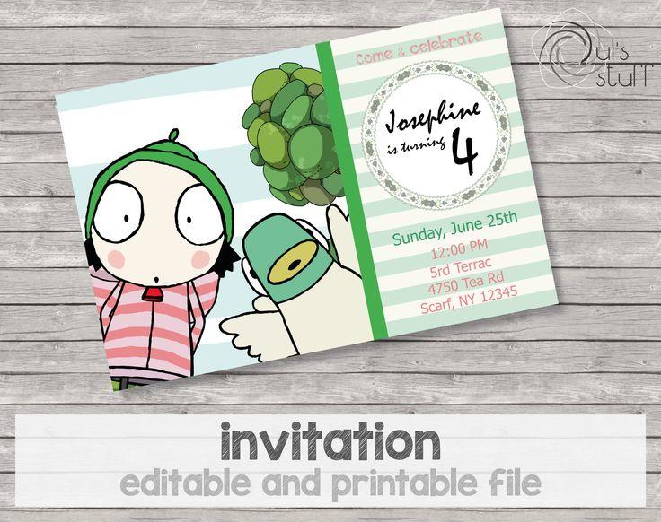 Invitaciones de Sarah y Pato imprimibles y editables de DulsStuff en Etsy