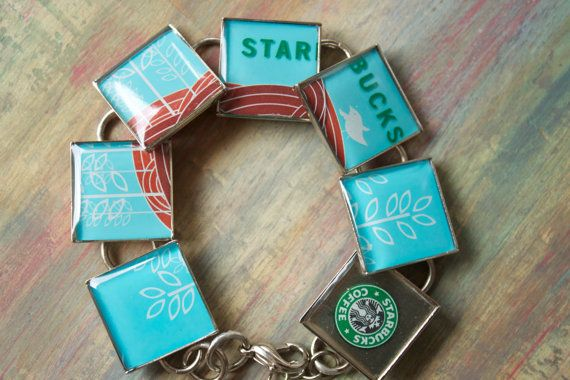 Recycled Jewelry Resin Jewelry Starbucks by lifeaccessories