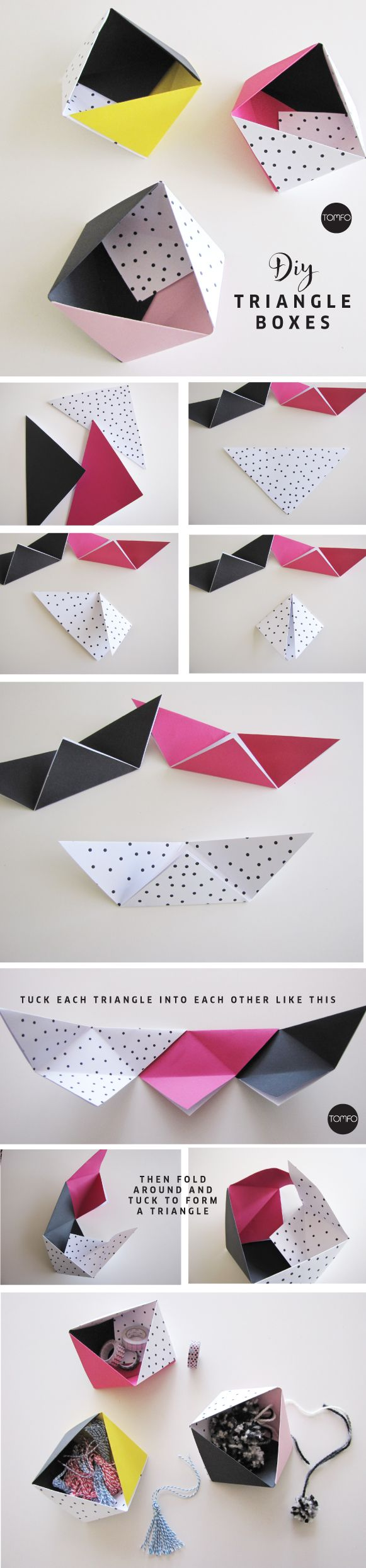 Make this awesome Triangle box on Tomfo... so easy, great for party favours, hair ties, or holding your present wrapping embellishments!