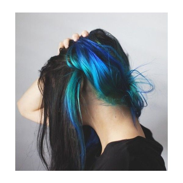 Ultimate Teal Ombre Hair Color | Mermaid Hair Color Set | Temporary... ❤ liked on Polyvore featuring beauty products, haircare, hair color, hair, hairstyles, colored hair and hair styles