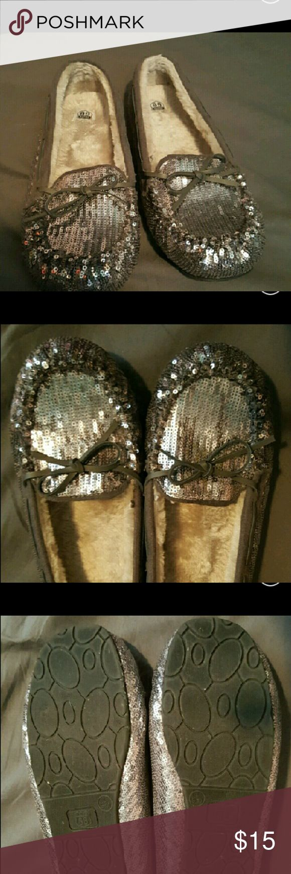 Silver/puter sequinced slippers!!! Adorable reposhed slippers,too big for me,looking for a new home!! Route 66 Shoes Flats & Loafers
