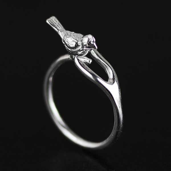 Wishing Bird Silver Ring @ Fig & Wattle #jewellery #jewelry #creatures #bee #honeybee #lovebird #butterfly #owl #hoot #bird #parrot #cobra #cat #dragonfly #silver #handmade #sterlingsilver #figandwattle