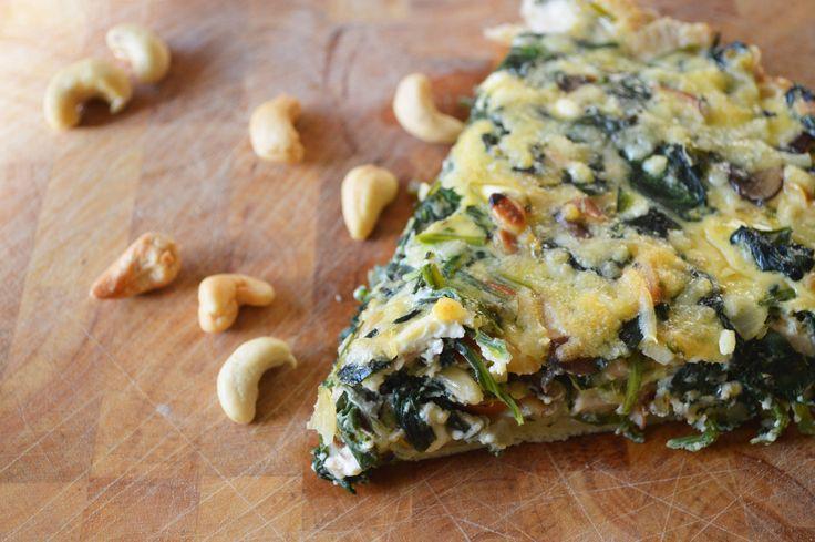 Quiche met spinazie, feta en gerookte kip