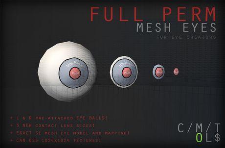 Full permissions Default SL Mesh Eyes PACK