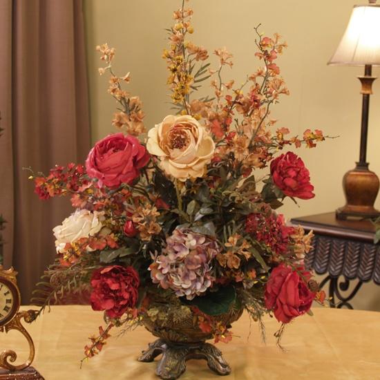 Lovely old fashioned floral arrangement: Floral Design, Silk Flowers Arrangements, Gold Silk, Home Decor, Floral Arrangements, Silk Flower Arrangements, Burgundy, Silk Arrangements, Arrangements Ar217 155