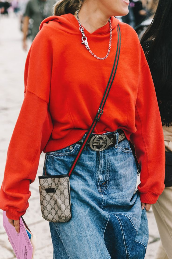 Street Style    dropped shoulder hooded sweat top worn back with denim    Saved by Gabby Fincham   