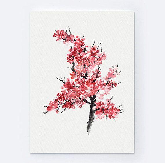 Fête des mères, ensemble de 2 fleurs de cerisier, arbre abstrait, idée cadeau japonaise, aquarelle, tirage d'art Sakura   – all