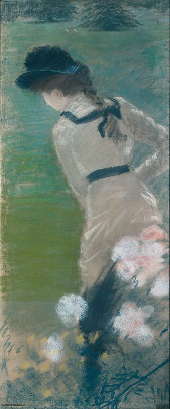 "Giuseppe De Nittis (1846–1884)  ""Signora di spalle in giardino"" 1883 Milano, Studio d'Arte Nicoletta Colombo"