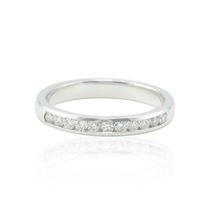 Fresh Diamond Wedding Band with Channel Set Diamonds in White Gold LS