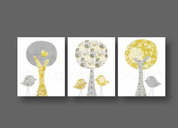 lot de 3 illustrations pour chambre denfant et bebe gris jaune - Chambre Jaune Et Gris Bebe