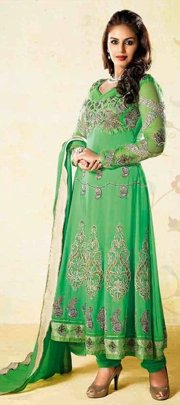 409719, Bollywood Salwar Kameez, Faux Georgette, Lace, Zardozi, Sequence, Resham, Green Color Family