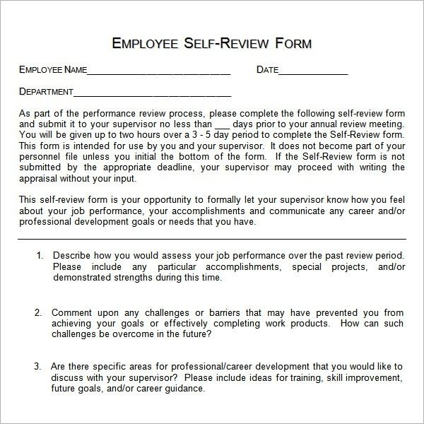Annual Performance Review Employee Self Evaluation