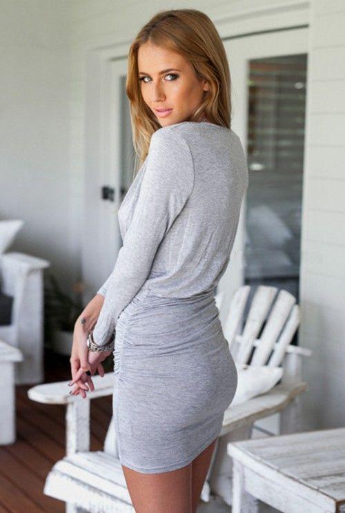 Sukienka Kopertowa z Długim Rękawem Szara