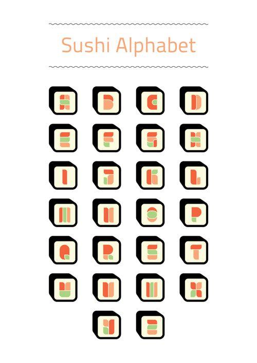 Typographic Design :: Sushi Alphabet