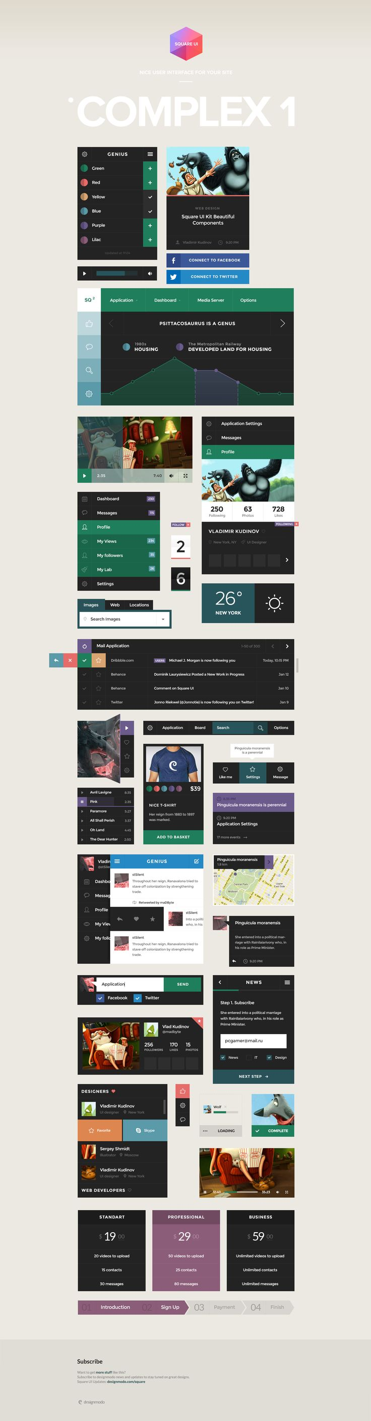 Square User Interface complex Components  #userinterface #interface #elements #buttons #flat #flatdesign #design #player #dashboard #icons #socialmedia #buttons #pricetable #steps