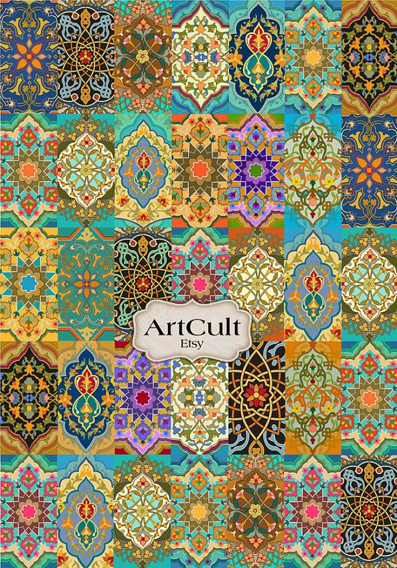 ORIENTAL PATCHWORK RUG - Digital Collage Sheet Printable Large image for craft work and paper scrapbook