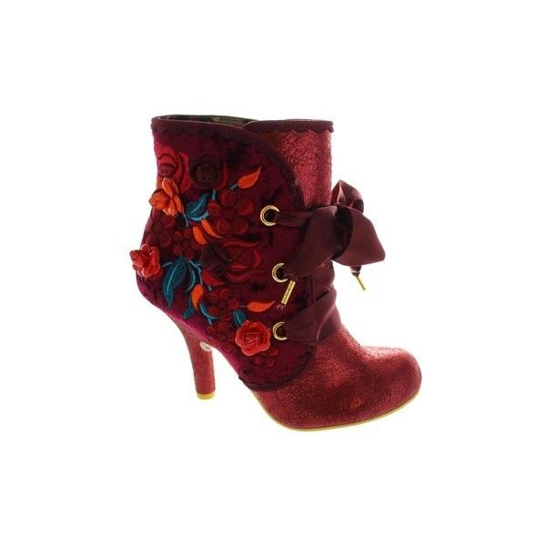 Irregular Choice Autumn Harvest Low Ankle Boots ($190) ❤ liked on Polyvore featuring shoes, boots, ankle booties, low boots, red, women, low ankle boots, low ankle booties, red ankle boots and red bootie