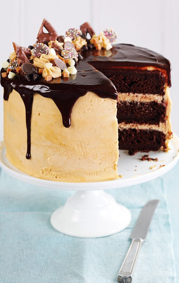 Great British Bake Off winner, John Whaite, shares his Chocolate and peanut butter drip cake recipe